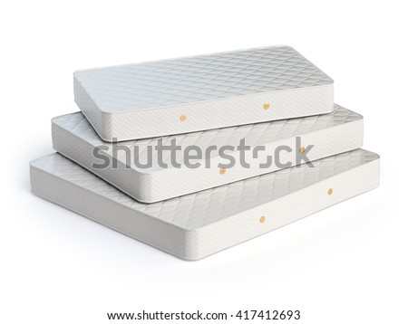 mattress isolated on white background stack of orthopedic mattresses of different sizes 3d