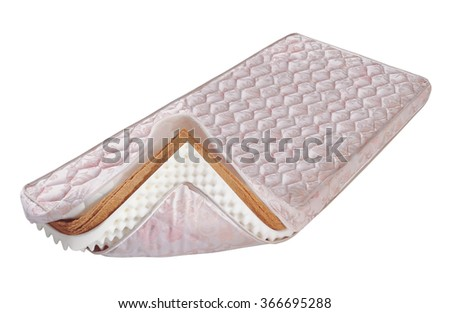 Mattress made of foam sheet and coconut fibre - stock photo