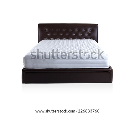 Mattress spring bed isolated on white background - stock photo