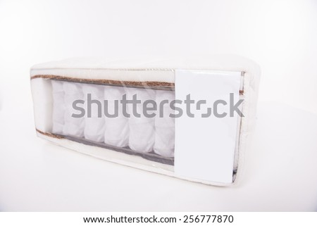 Mattress that supported you to sleep well all night isolated on white background.