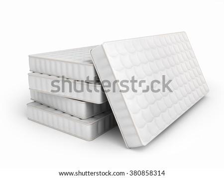 mattresses isolated on white background - stock photo