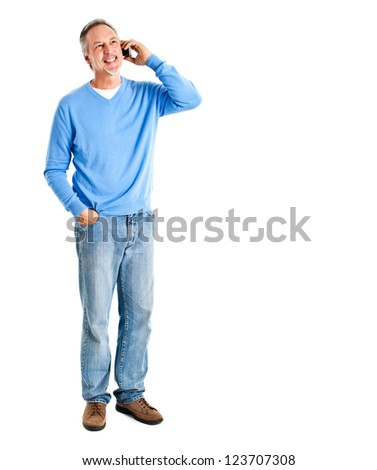 Matue man in casual clothes on the phone - stock photo