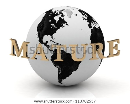 MATURE abstraction inscription around earth on a white background