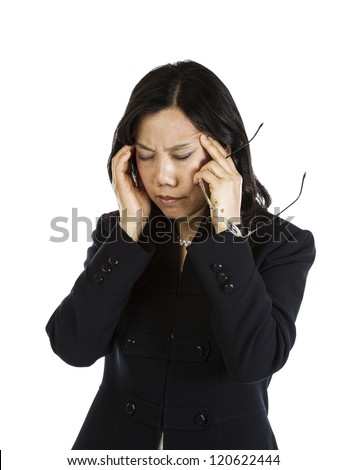 Mature Asian woman with a stressful moment holding glasses on white background - stock photo