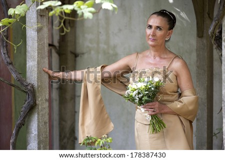 Mature bride at the Birmingham Botanical Gardens