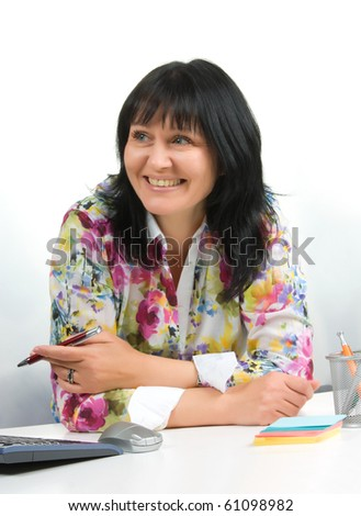 mature business lady in office  isolated on a white  background - stock photo