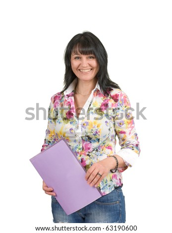 mature business lady with a folder  isolated on a white  background - stock photo
