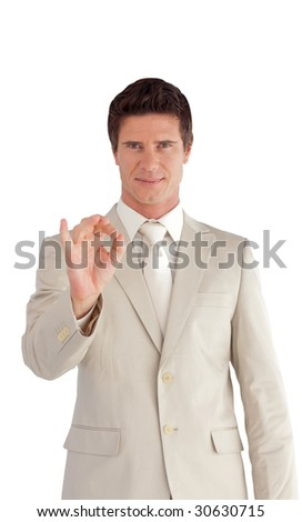 Mature Business man showing Positive sign