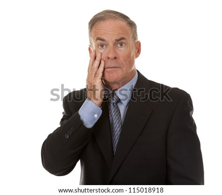 mature business man showing stress gesture on white background - stock photo