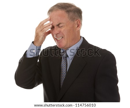 mature business man with headache on white background - stock photo