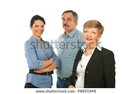 Mature business woman and her team isolated on white background - stock photo