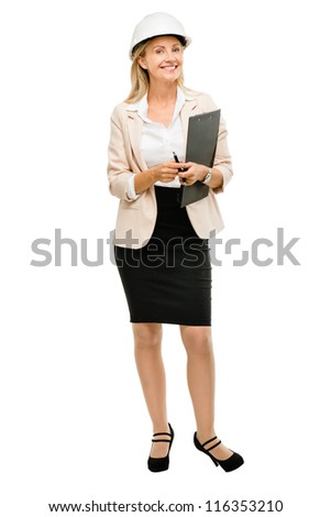 Mature business woman architect manager isolated on white background - stock photo