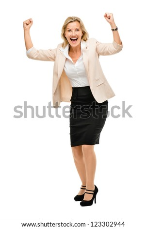 Mature business woman celebrating success full length isolated on white background - stock photo