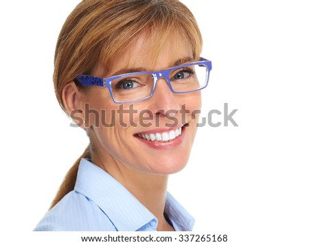 Mature business Woman face with blue eyeglasses. - stock photo