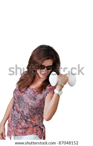 Mature business woman showing determination. - stock photo