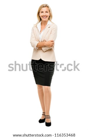 Mature business woman smiling full length portrait isolated on white background