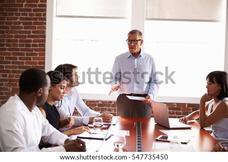 Mature Businessman Addressing Boardroom Meeting