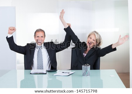 Mature Businessman And Businesswoman Enjoying The Success - stock photo