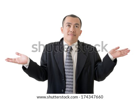 Mature businessman give you a gesture of helpless, closeup portrait on white background. - stock photo