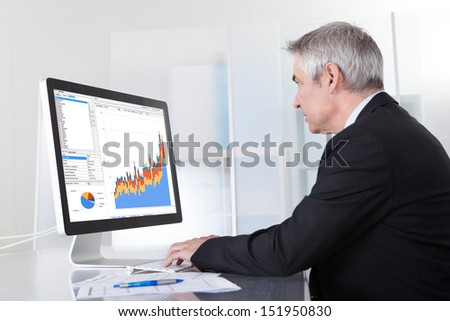 Mature Businessman Looking At Computer Showing Diagram - stock photo