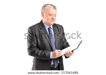 Mature businessman looking at documents isolated on white background - stock photo