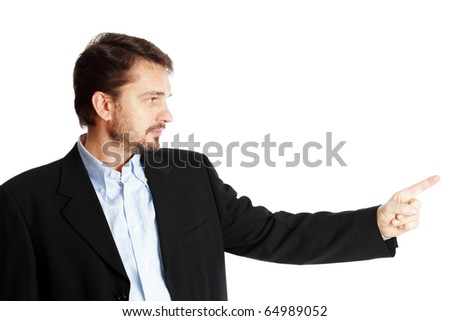 Mature businessman pointing at copyspace, isolated over white background - stock photo