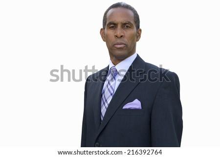 Mature businessman, portrait, cut out - stock photo