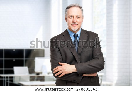 Mature businessman portrait in his office