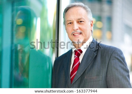 Mature businessman portrait outdoor - stock photo