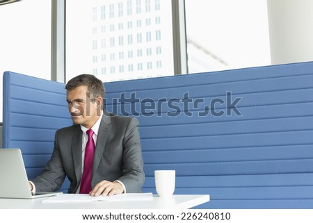 Mature businessman using laptop at desk - stock photo