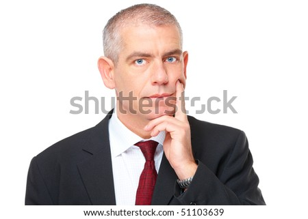 Mature businessman wearing suit with serious face thinking, isolated on white background