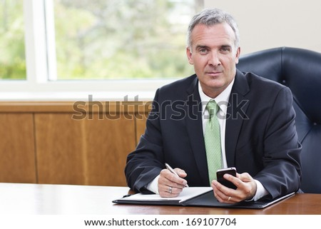 Mature Businessman working in his office - stock photo