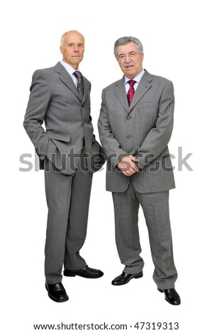 Mature businessmen posing isolated in white