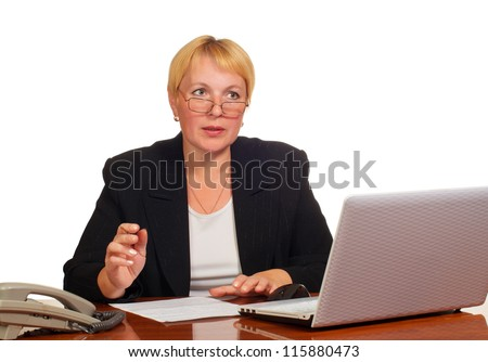 Mature businesswoman decides on the job. Isolated against white background.