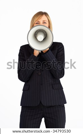 Mature businesswoman holding a megaphone in front of the camera