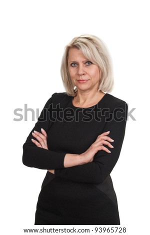 Mature businesswoman standing with arms crossed against  isolated on white background - stock photo