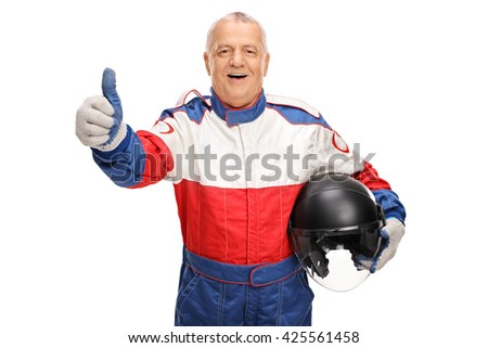 Mature car racer giving a thumb up and holding a helmet isolated on white background - stock photo