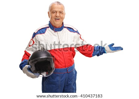 Mature car racer in a racing suit gesturing with his hand isolated on white background