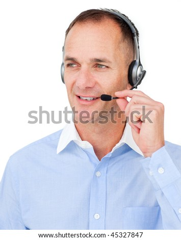 Mature Caucasian businessman using headset against a white background