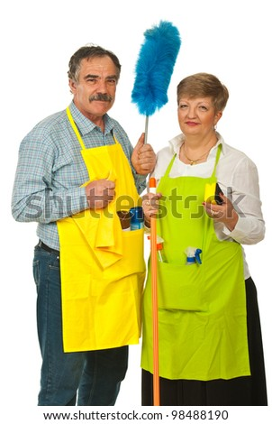 Mature cleaning people team holding cleaning products isolated on white background