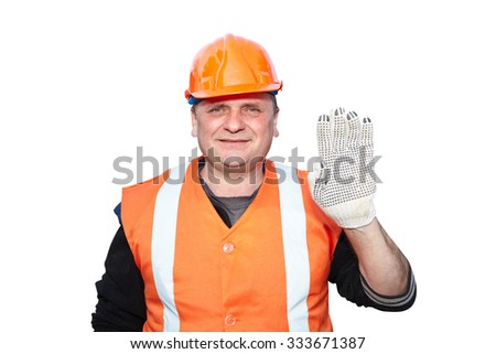 Mature contractor shows gesture on white background