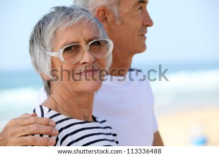 Mature couple embracing
