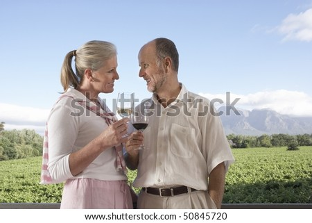 Mature couple holding wine glasses, toasting - stock photo