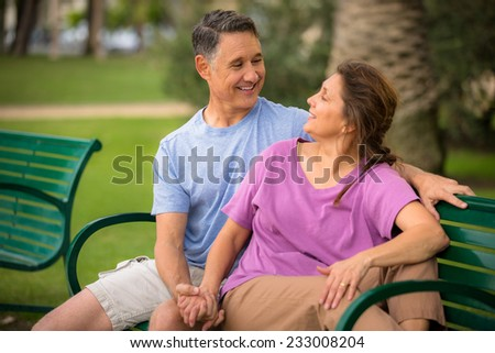 Mature couple looking at each other