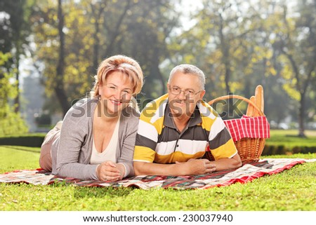 Mature couple lying on a blanket an enjoying a picnic in park  - stock photo