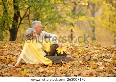 Mature couple lying on leaves in the autumn park - stock photo