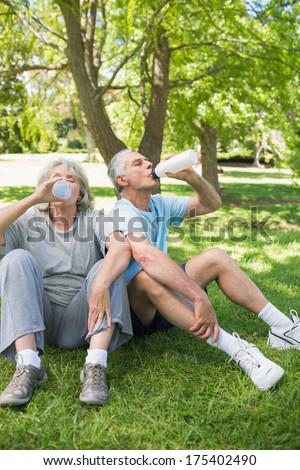 Mature couple sitting on grass and drinking water at the park - stock photo