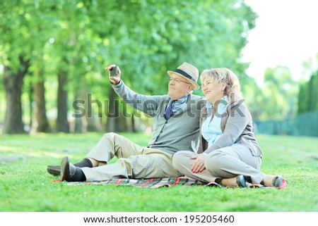 Mature couple taking selfie on a picnic outdoors - stock photo