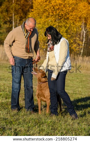 Mature couple training retriever dog in autumn sunny park - stock photo
