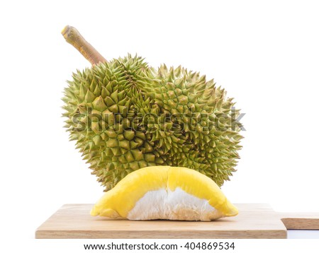 "mature durian fruit isolated on white background, durian is a smelly fruits and called ""king of fruit"". - stock photo"